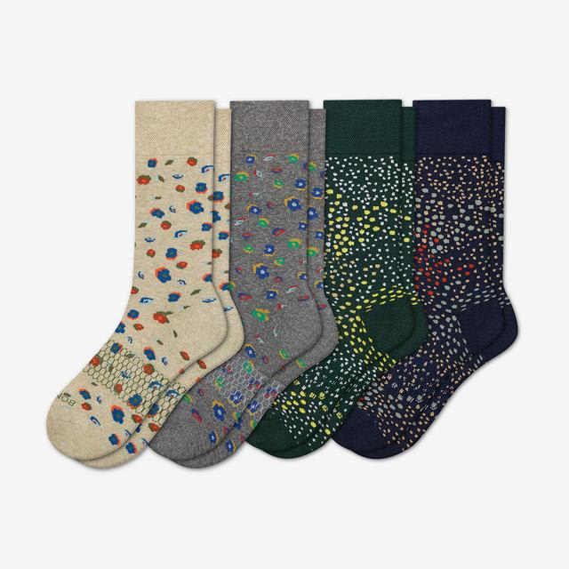 floral-splatter-mix Men's Dress Calf Sock 4-Pack