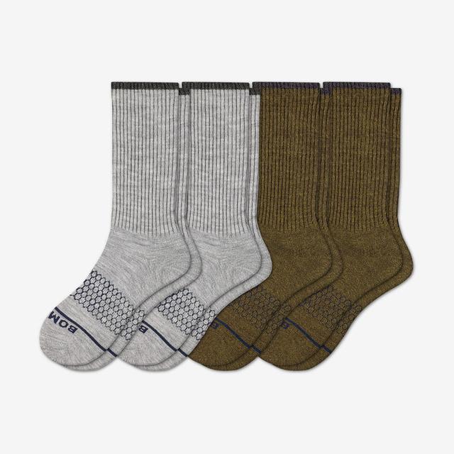 grey-green Men's Merino Wool Calf Sock 4-Pack