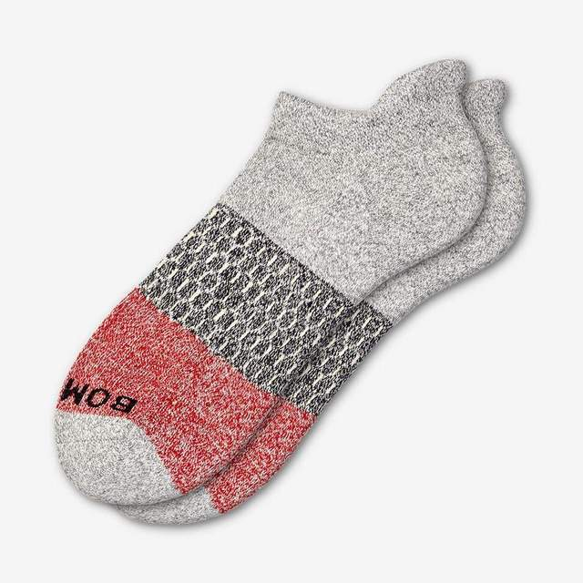 grey-heather-and-red Women's Tri-Block Ankle Socks