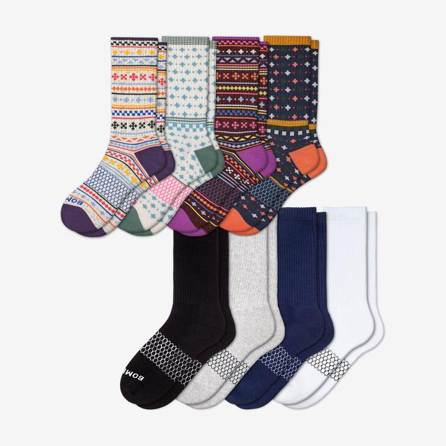 holiday-solids-mix Women's Calf Sock 8-Pack