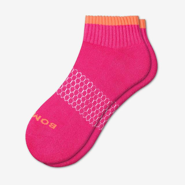 hot-pink Women's Solid Neon Tipping Quarter Socks