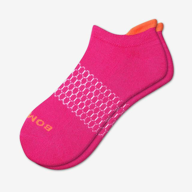 hot-pink Women's Solid Neon Tipping Ankle Socks