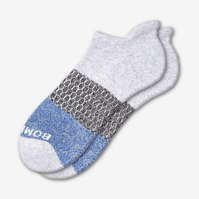 light-grey-heather-and-royal Women's Tri-Block Ankle Socks