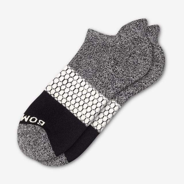 marled-dark-grey-and-cream Women's Tri-Block Ankle Socks