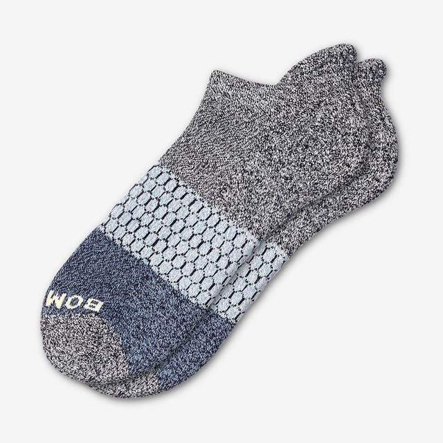 marled-midnight-and-soft-blue Women's Tri-Block Ankle Socks