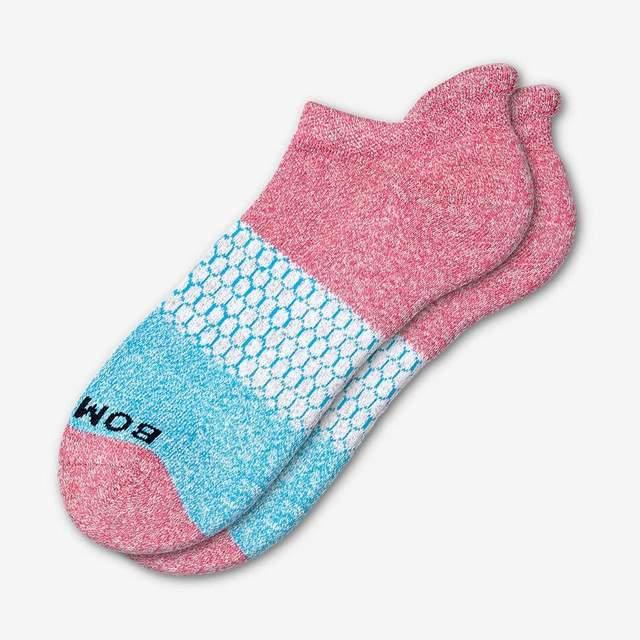 marled-pink-and-aqua Women's Tri-Block Ankle Socks