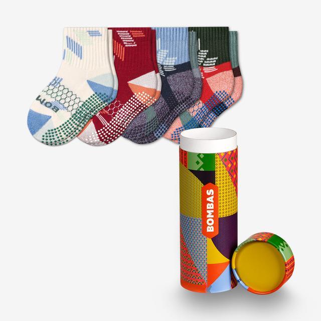 maroon-navy-mix Toddler Snowflake Gripper Calf Sock 4-Pack Gift Box
