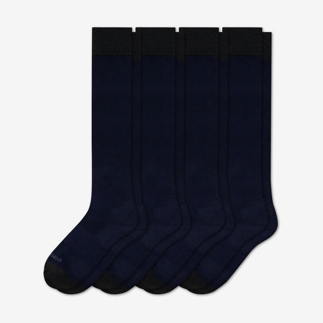 midnight-navy Men's Dress Over the Calf Solid Sock 4-Pack