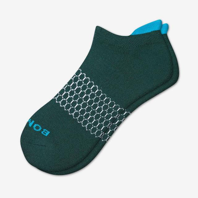midnight-teal Men's Solid Neon Tipping Ankle Socks