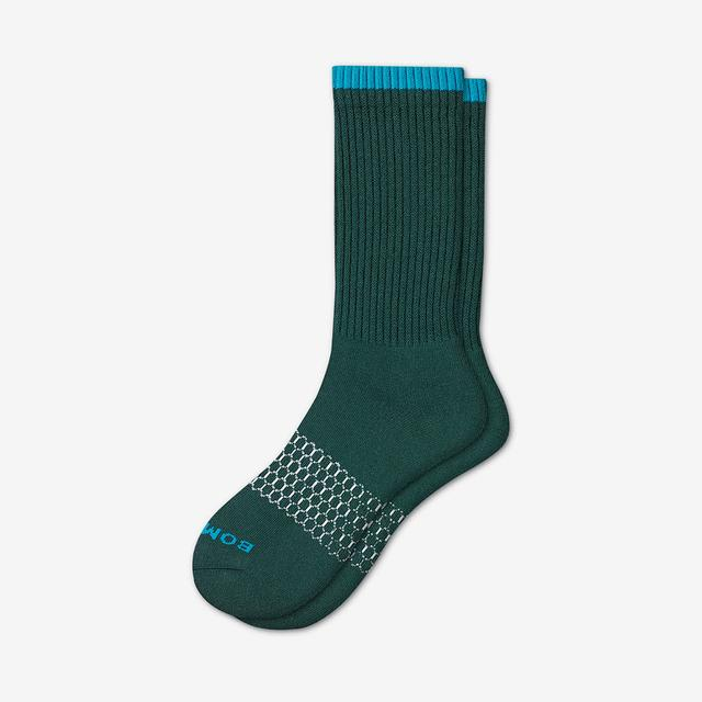 midnight-teal Men's Solid Neon Tipping Calf Socks