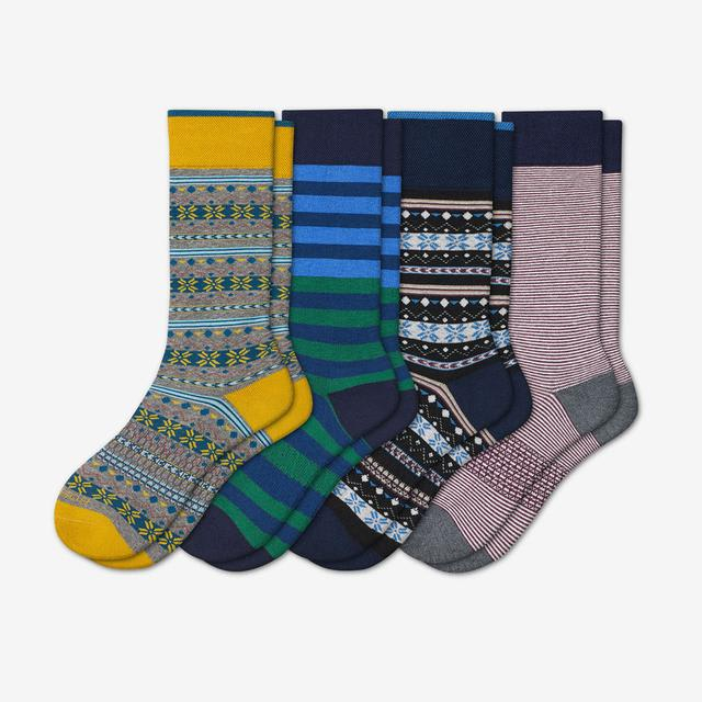 mixed-4 Men's Dress Calf Sock 4-Pack