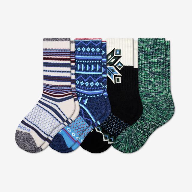 mixed-4 Youth Holiday Calf Sock 4-Pack