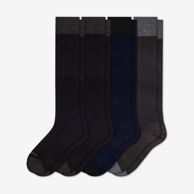 mixed-4 Men's Dress Over the Calf Solid Sock 4-Pack