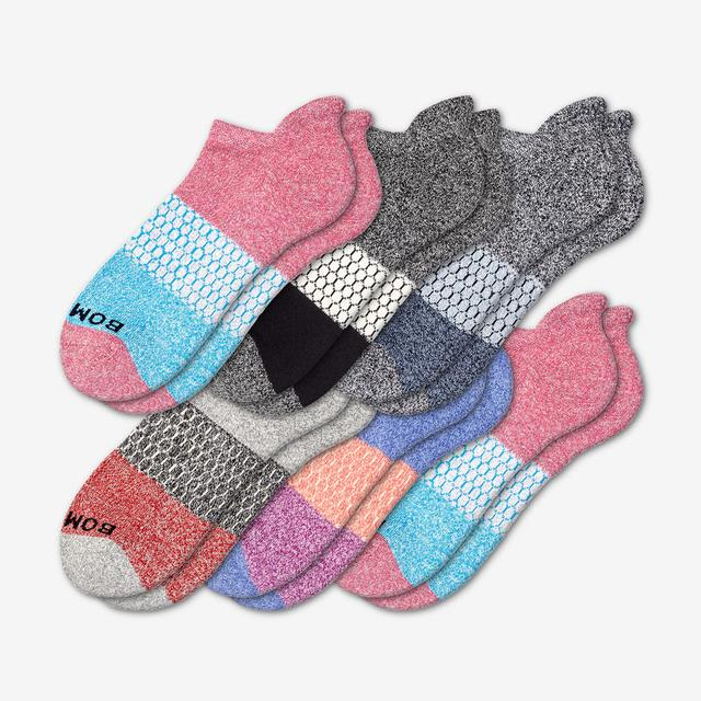 mixed-6 Women's Tri-Block Marl Ankle Sock 6-Pack