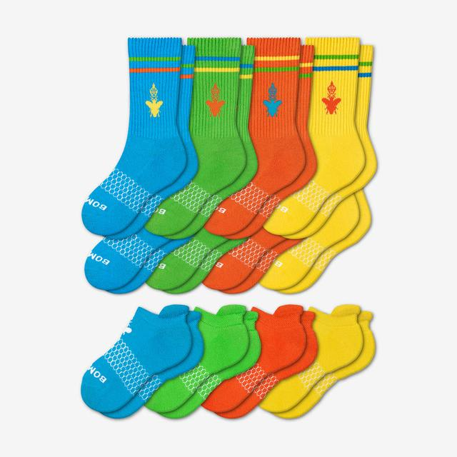 mixed-brights-12 Youth Calf & Ankle 12-Pack