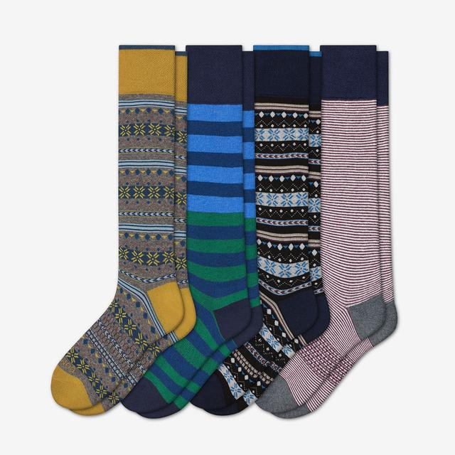 mixed Men's Dress Over the Calf Sock 4-Pack