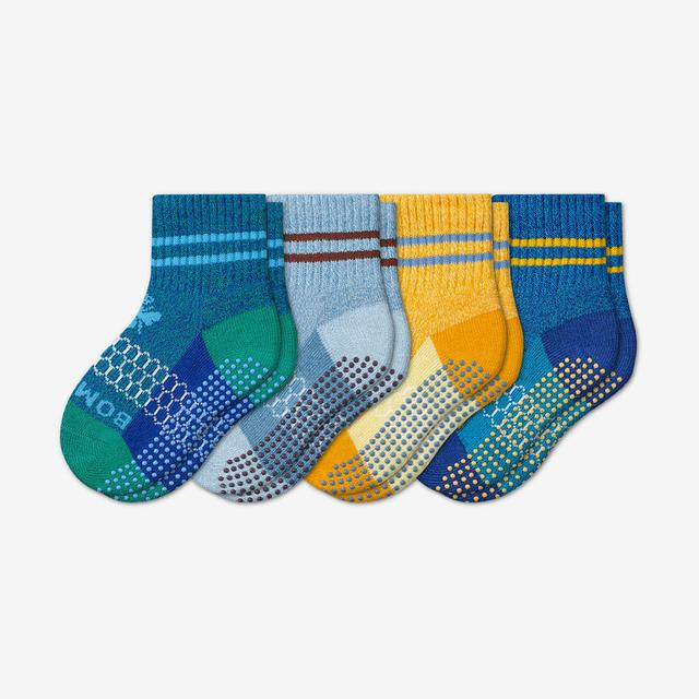 mixed Toddler Gripper Calf Sock 4-Pack