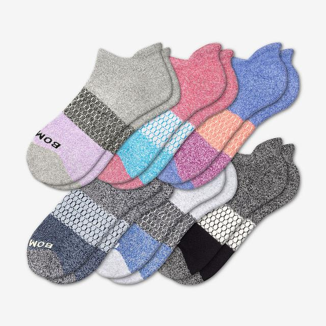 mixed Women's Tri-Block Marl Ankle Sock 6-Pack