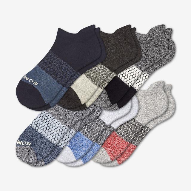 mixed Men's Tri-Block Marl Ankle Sock 6-Pack