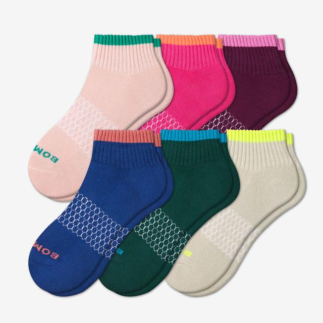 mixed Women's Solid Neon Tipping Quarter Sock 6-Pack