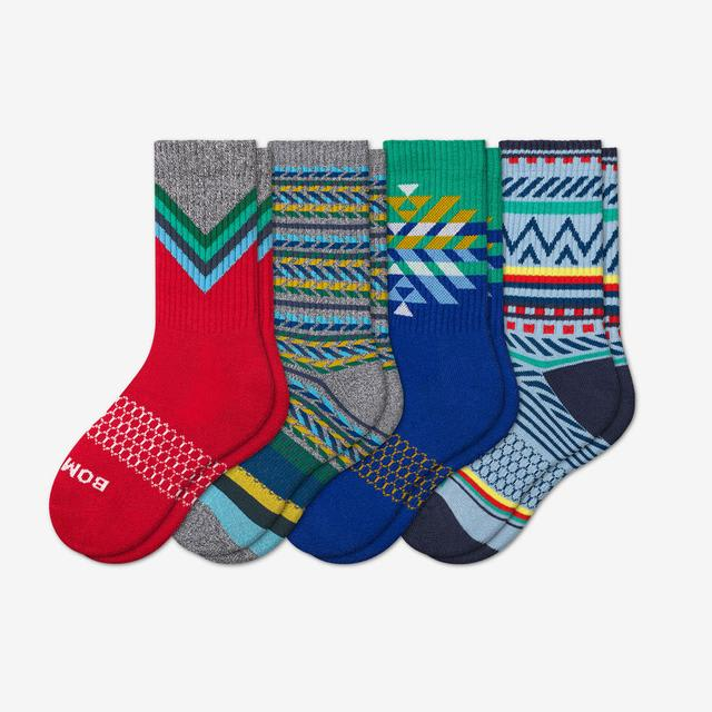 multi-4 Youth Holiday Calf Sock 4-Pack