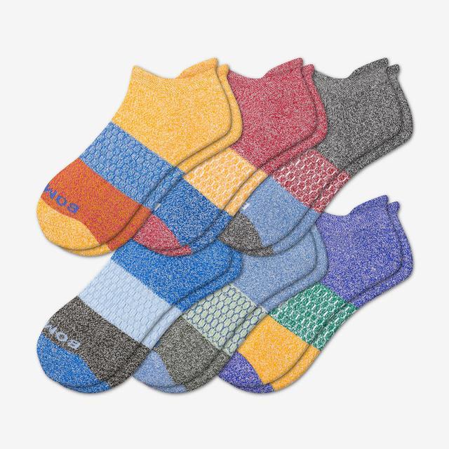 multi-6 Men's Tri-Block Marl Ankle Sock 6-Pack