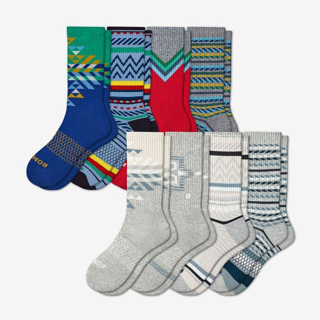 multi-8 Men's Holiday Calf Sock 8-Pack