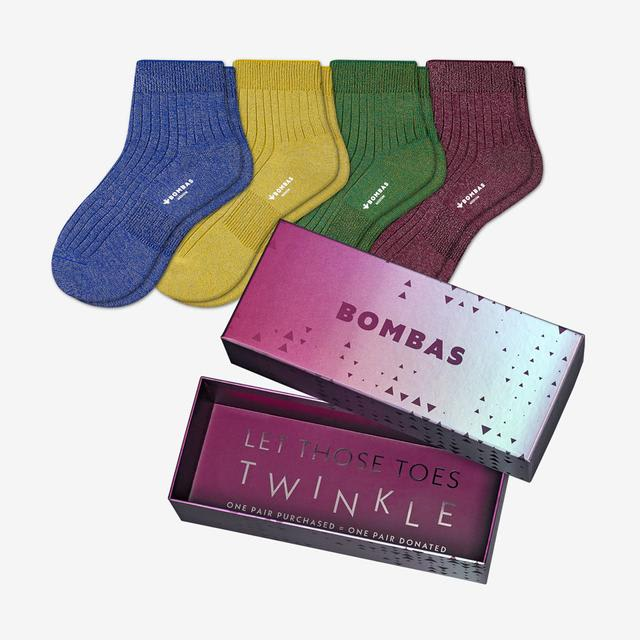 multi Women's Lightweight Sparkle Ribbed Quarter Sock Gift Box