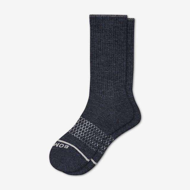 navy Men's Merino Wool Calf Socks
