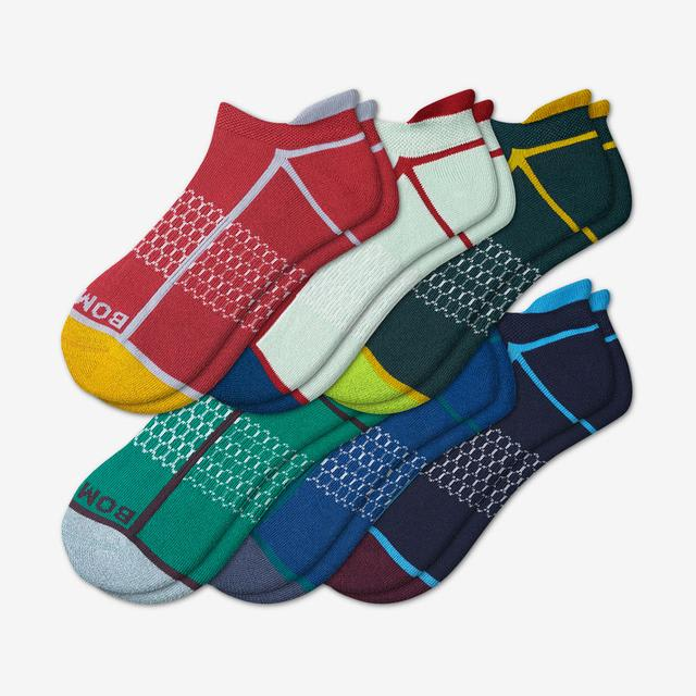 neon-mix Men's Solid Neon Tipping Ankle Sock 6-Pack