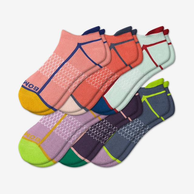 neon-mix Women's Solid Neon Tipping Ankle Sock 6-Pack