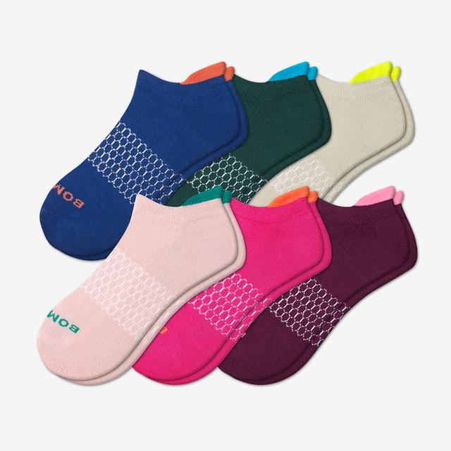 neon-mixed-6 Women's Solid Neon Tipping Ankle Sock 6-Pack