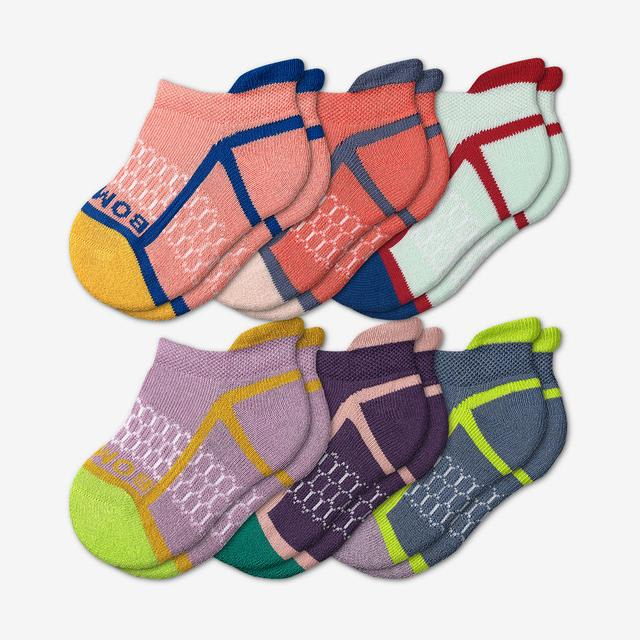 neon-peach Toddler Solid Neon Tipping Ankle Sock 6-Pack