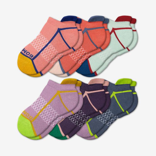 neon-peach Youth Solid Neon Tipping Ankle Sock 6-Pack