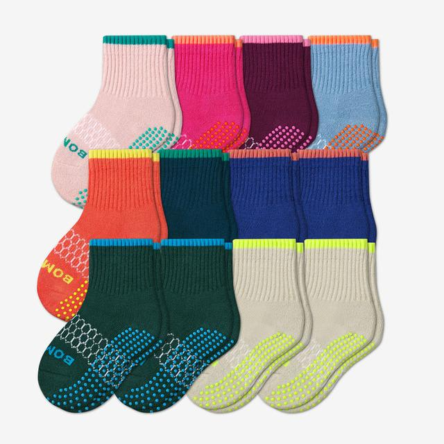 neon-tipping-12 Toddler Gripper Calf Sock 12-Pack