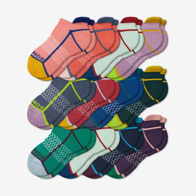 neon-tipping Youth Ankle Sock 12-Pack