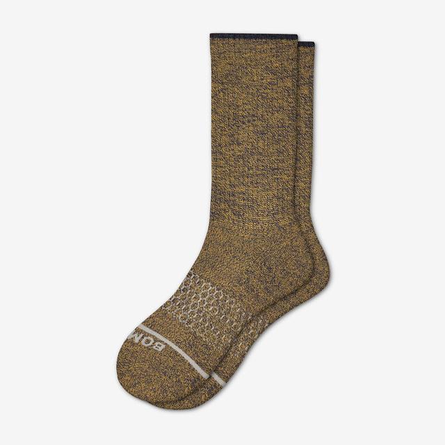 ochre-navy Women's Merino Wool Calf Socks