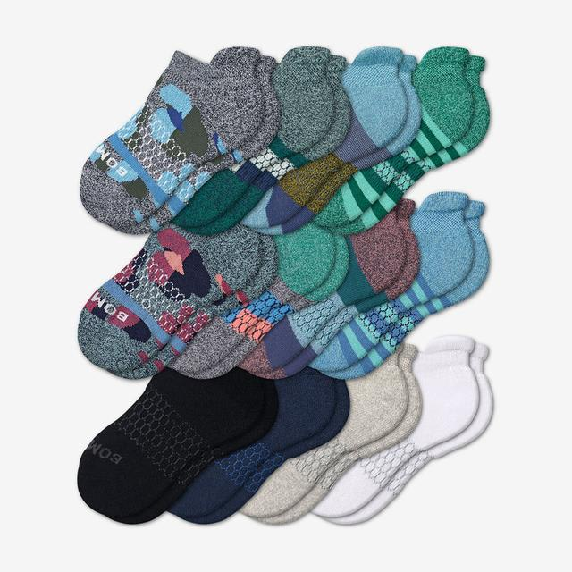 patchwork-mix Youth Ankle Sock 12-Pack