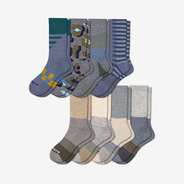 patchwork-mix Men's Calf Sock 8-Pack