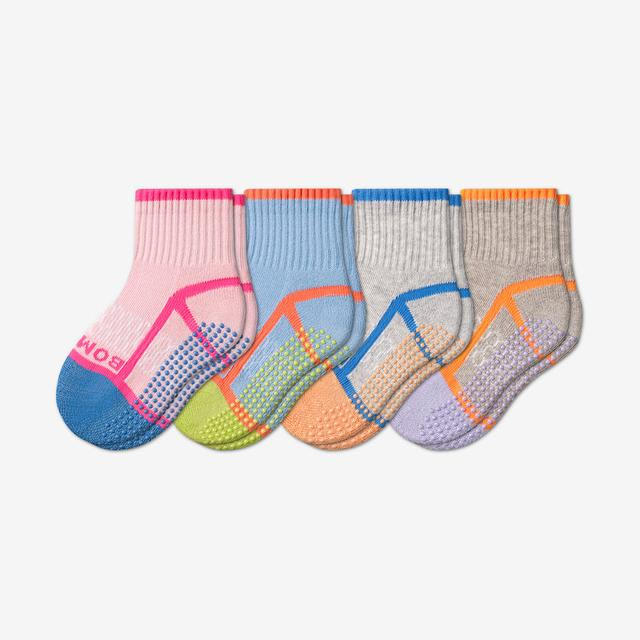 pink-blue-grey-mix Toddler Gripper Calf Sock 4-Pack
