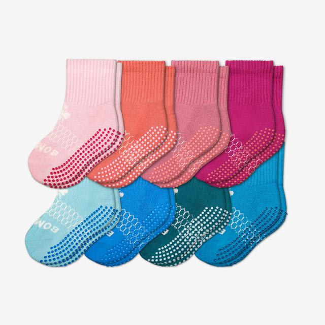 pink-blue-mix Toddler Gripper Calf Sock 8-Pack