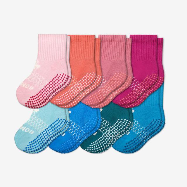 pink-blue-mix Toddler Gripper Calf Sock 8-Pack