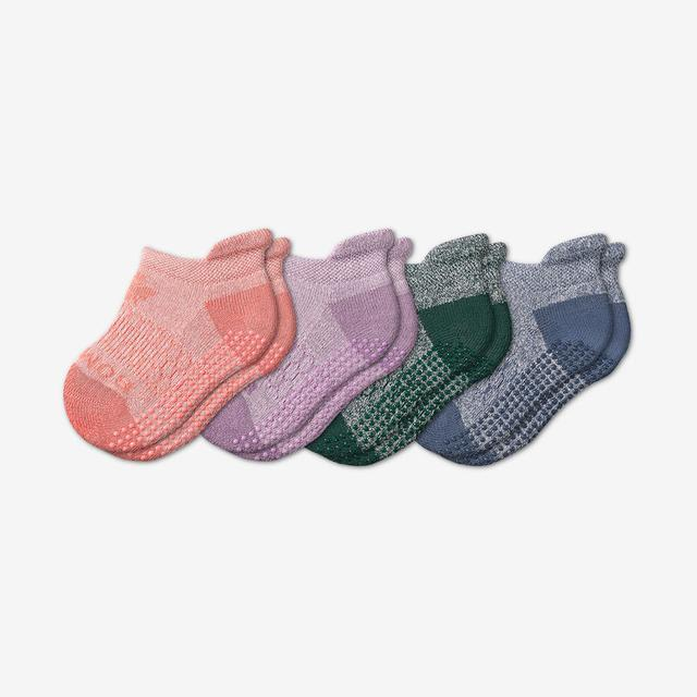 pink-green-blue-mix Toddler Ankle Gripper Sock 4-Pack