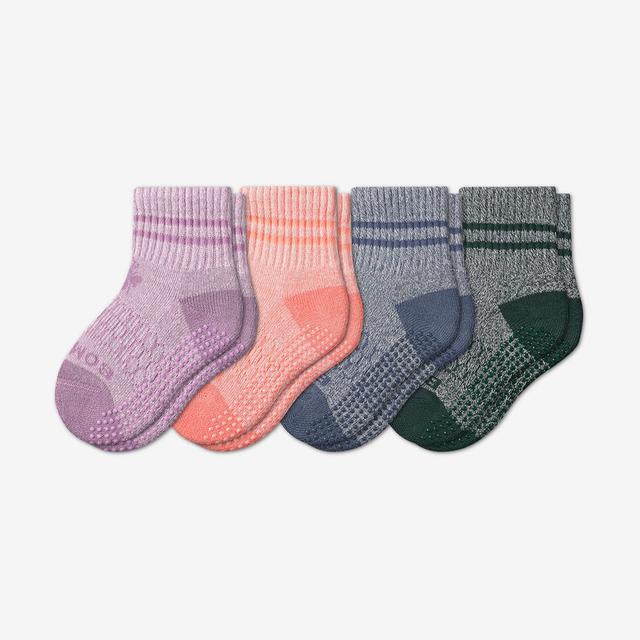 pink-green-blue-mix Toddler Gripper Calf Sock 4-Pack