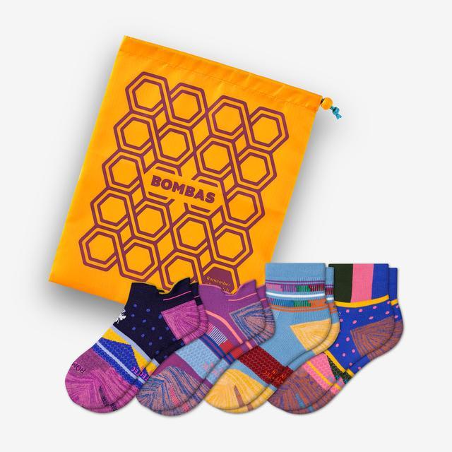 pink-maroon-purple-mix Women's Performance Running Ankle & Quarter Sock Gift Bag