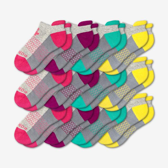 pink-purple-teal-yellow Youth Ankle 12-Pack