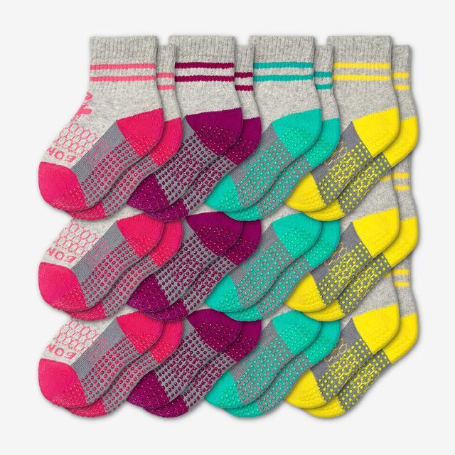 pink-purple-teal-yellow Toddler Gripper Calf Sock 12-Pack