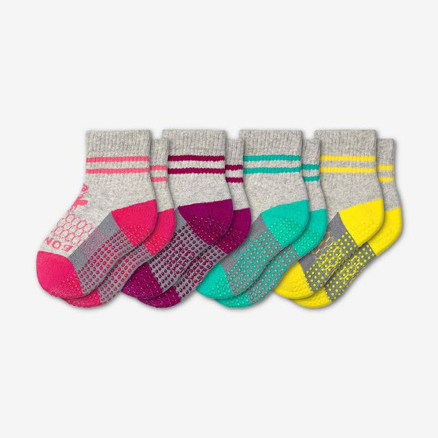 pink-purple-teal-yellow Toddler Gripper Calf Sock 4-Pack