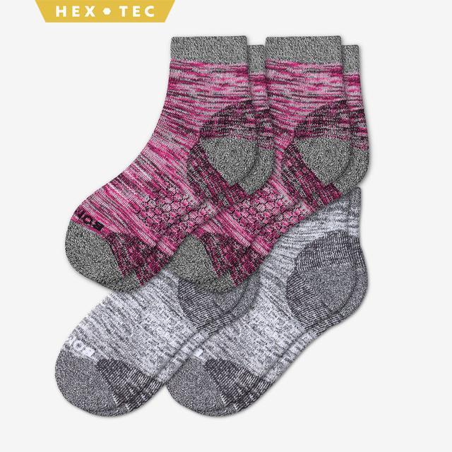 pink-white Women's Hiking Quarter Sock 4-Pack