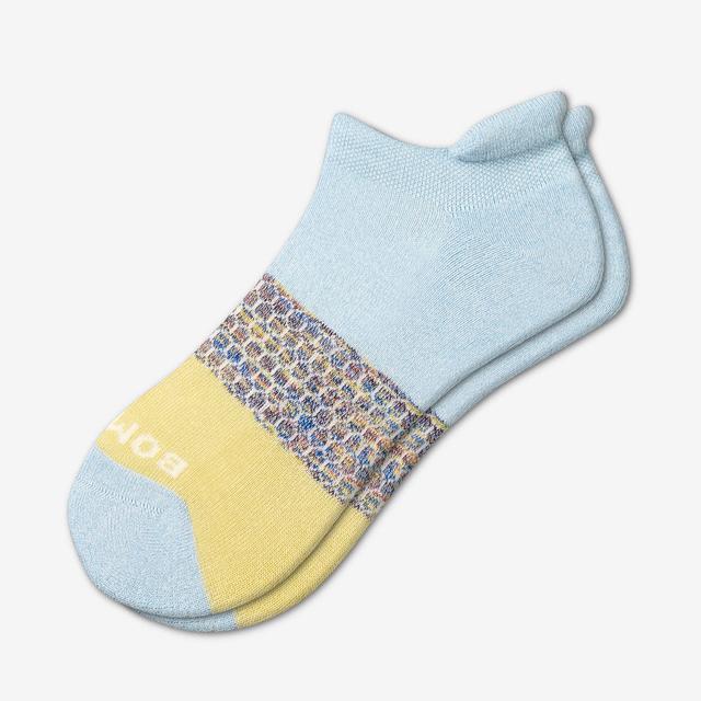 powder-blue Women's Tri-Block Ankle Socks